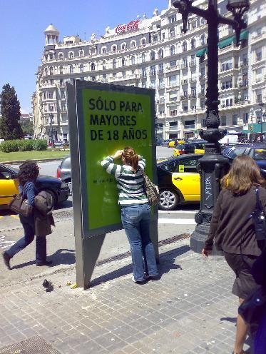 Anuncio 3D en la Plaça Francesc Macià de Barcelona